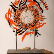 Herinneringsbeeld 'vink' asverwerking in glas, kleurrijk uniek glasreliek