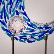 Gedenkobject met haarlok verwerkt in glas