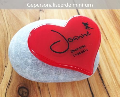 Mini urn hart gepersonaliseerd naam datums illustratie