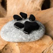 Mini-urn hond met pootafdruk van glas