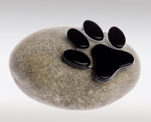 Dierenurn pootafdruk kat - Mini urn met pootafdruk van glas