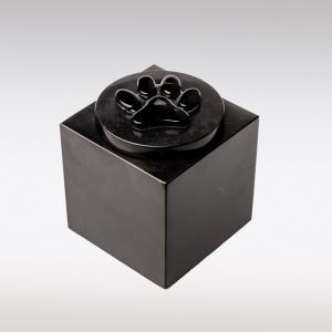 Zwarte Cubos urn met kattenpootje van glas