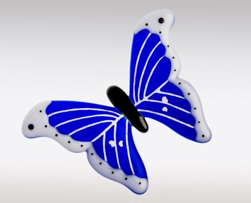 Decoratie vlinder van blauw glas