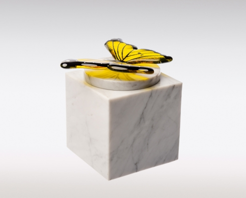 Witte Cubos urn vlinder geel sierlijk front