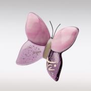 Roze-paars glazen vlindertje met as en naam