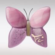 Roze-paars vlindertje van glas met as