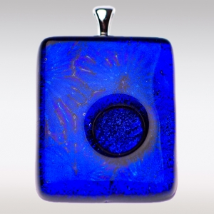 Blauwe ashanger met bloemmotief