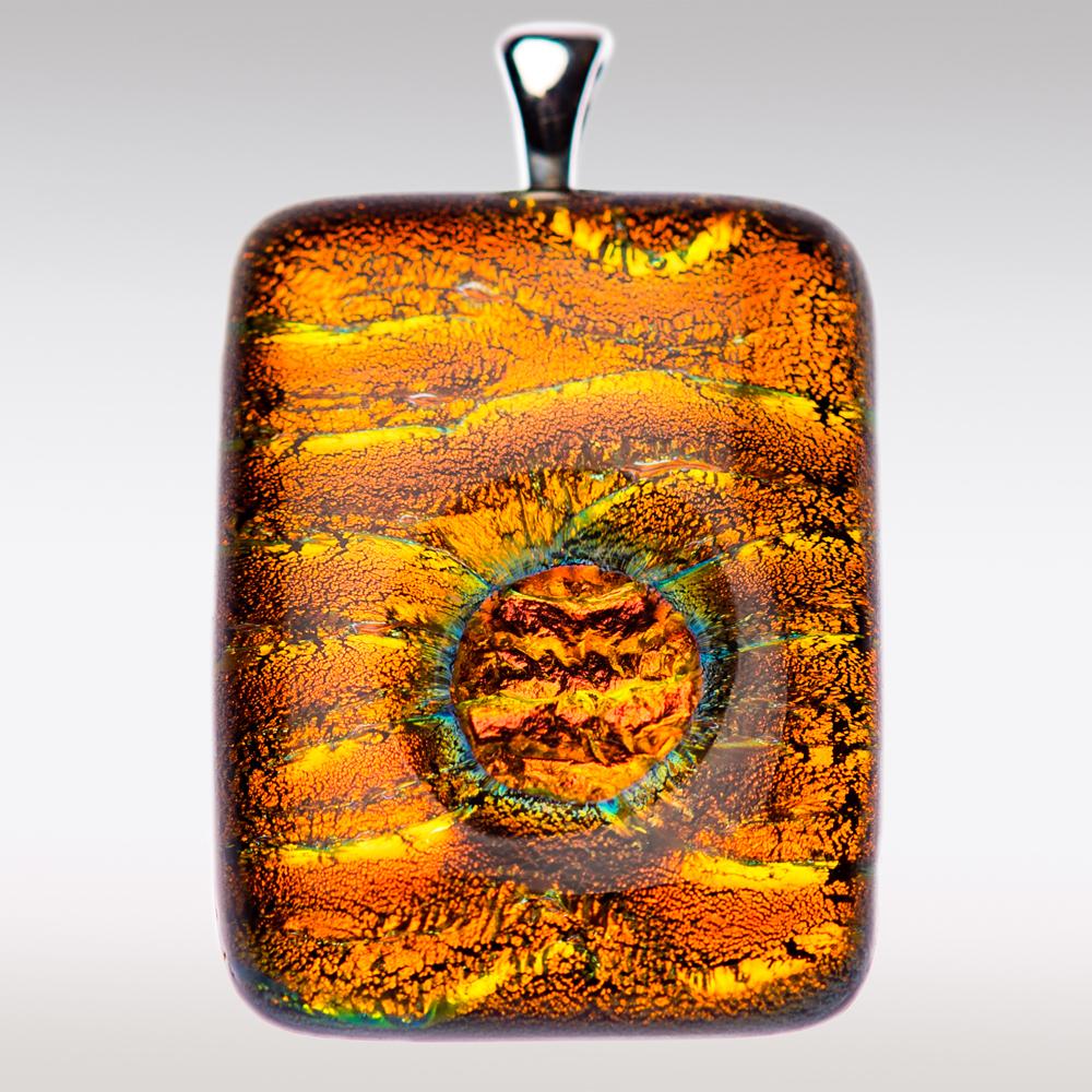 Oranje-rood gedenksieraad van glas