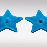 Gedenk ster van glas met haarlok