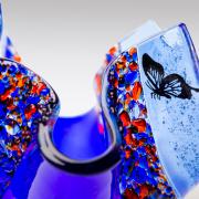 Close-up vlindertje waxinelichtje